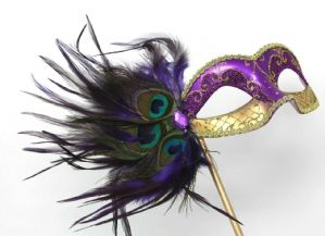Purple and Gold Mask - Mask on Stick | Masks and Tiaras
